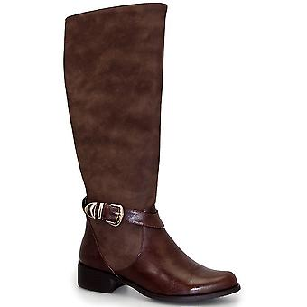 Jocelyn Contrast Long Ladies Knee High PU Leather Riding Style Boots