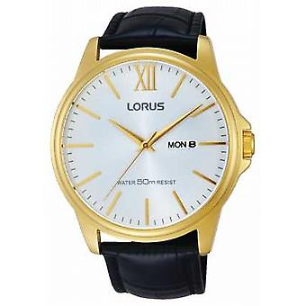 Lorus Mens Black Leather Strap Silver Dial RXN16DX9 Watch
