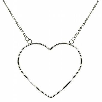 The Olivia Collection Ladies Silvertone Large Open Heart 18