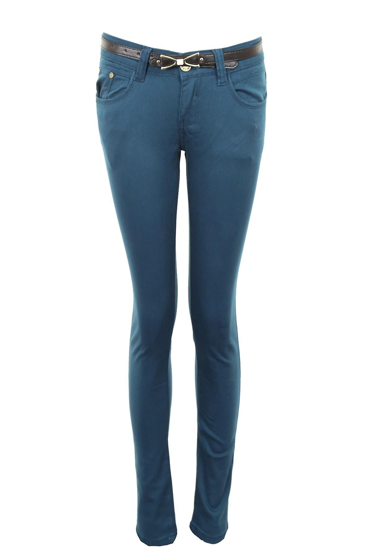 New Ladies Slim Fit Skinny Belted Coloured Denim Women's Jeans