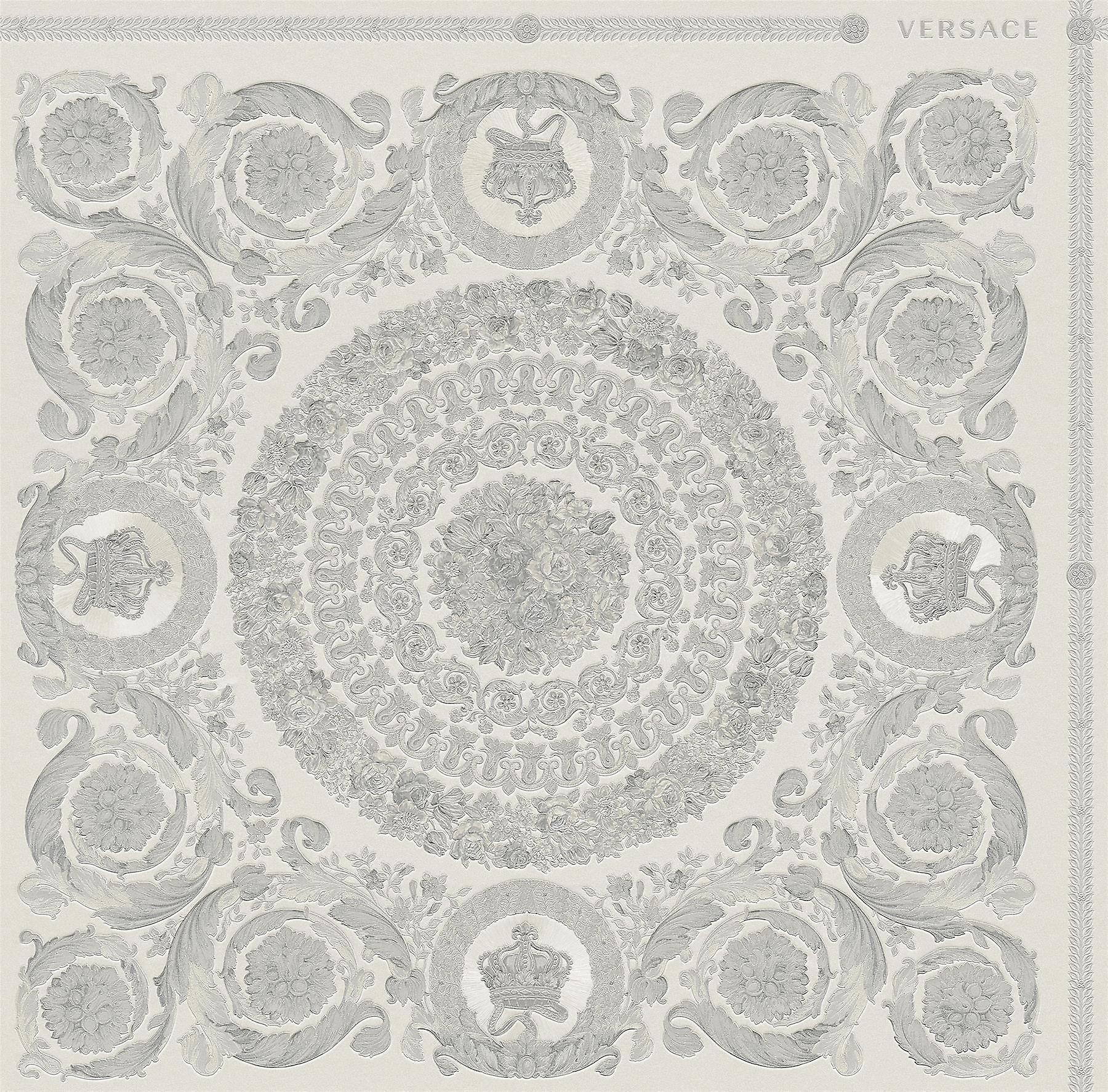 Versace Heritage gris argent Wallpaper Baroque OrnaHommest Metallic Paste Wall