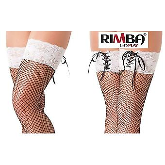 'Rimba Lingerie Black Fishnet Hold Up Tights With Floral Lace Tops (R1481)