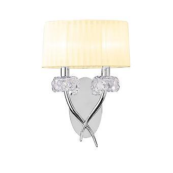 Mantra M4634/S Loewe Wall Lamp 2 Light E14, Chrome poli avec crème ombragée