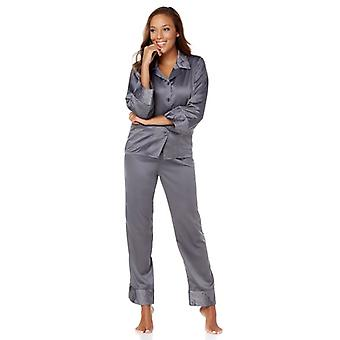 Highgate Manor Quilted Satin Pajamas Medium Steel Womens