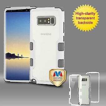 MYBAT Natural Ivory White Frame+Transparent PC Back/Iron Gray TUFF Vivid Hybrid Protector Cover  for Galaxy Note 8