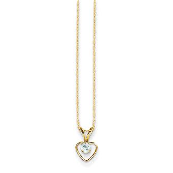 14k Yellow Gold Polished Spring Ring 3mm Aquamarine Heart for boys or girls pendant - 15 Inch - Measures 10x6mm