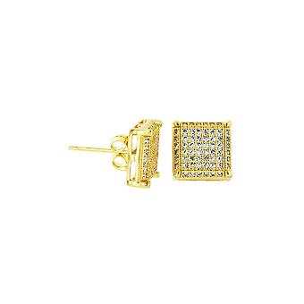 Earrings Square Deap Micro Pave Gold [10.8 mm]