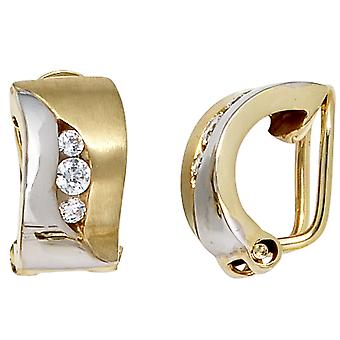 333/g brooch earrings gold bicolor partially frosted part rhodium plated Zircons