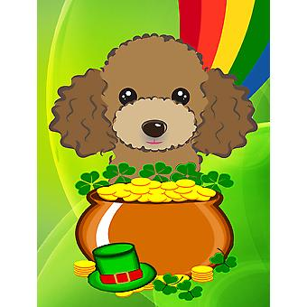 Chocolate Brown Poodle St. Patrick's Day Flag Canvas House Size BB2000CHF