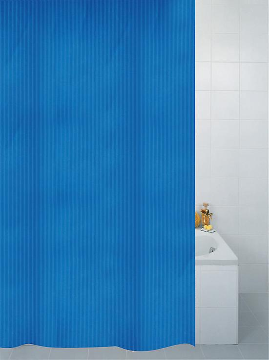 Blue Textile Stripe Polyester Shower Curtain 180 x 180cm