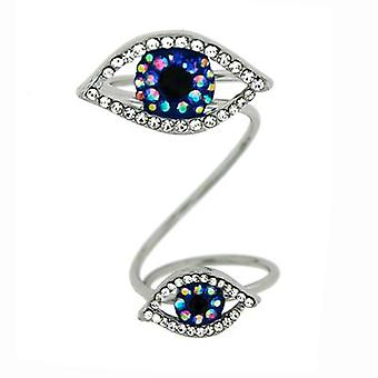 Butler and Wilson Two Crystal Eyes Adjustable Wrap Ring