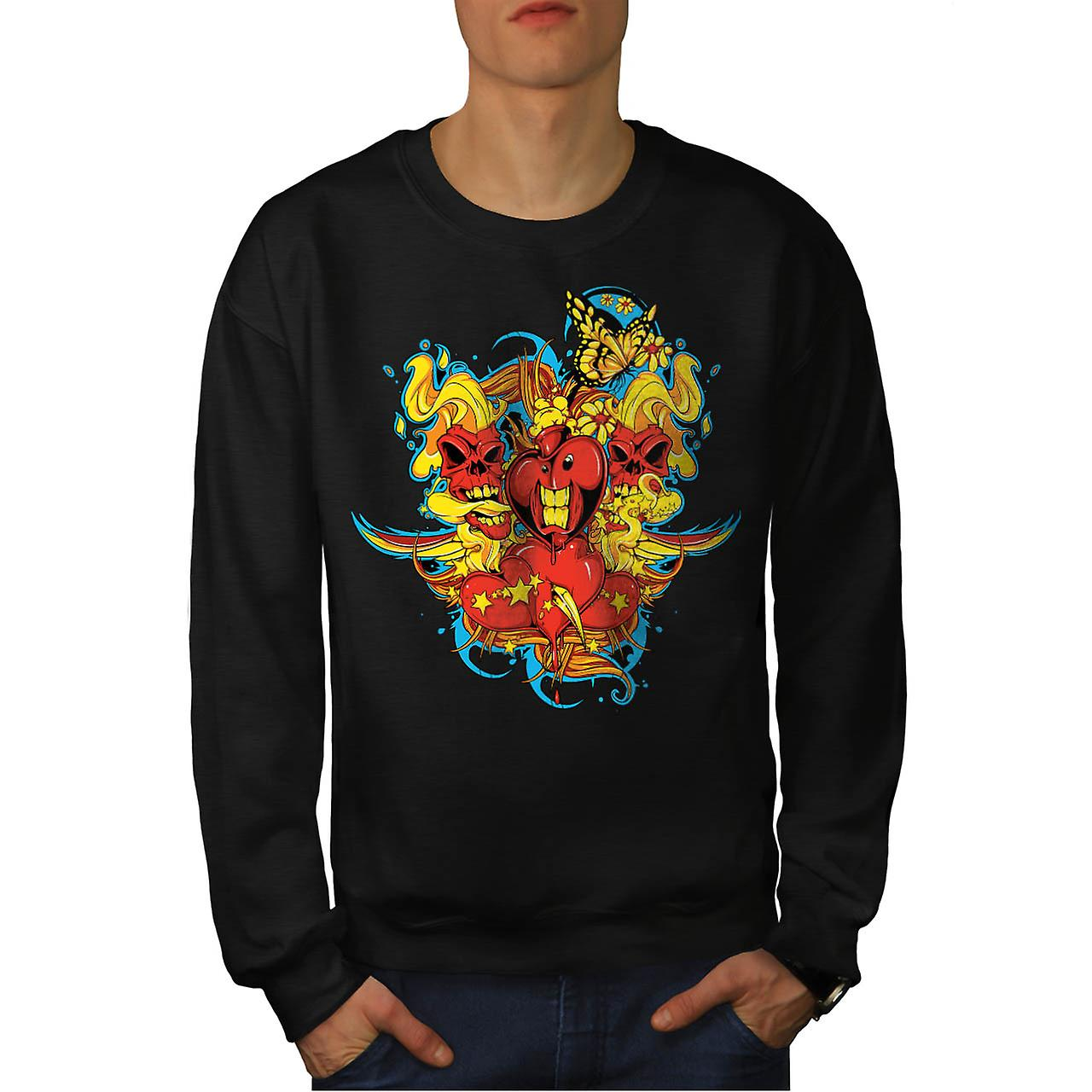 Little Monsters Love Romantic Men Black Sweatshirt | Wellcoda