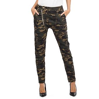 Camo Military Camouflage Slim Drop Crotch Jeans