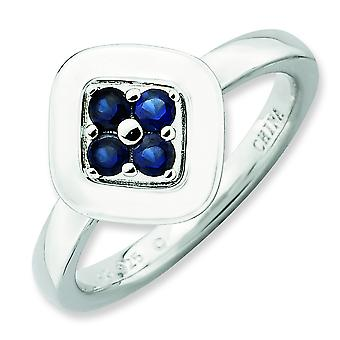 2.25mm Sterling Silver Stackable Expressions Polished Created Sapphire Ring - Ring Size: 5 to 10