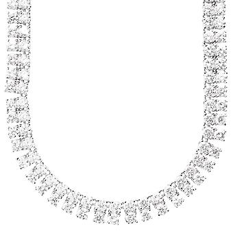 Iced Out Bling ZIRKONIA STEINE 2 ROW Kette - silber