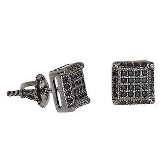 Sterling 925 Silber MICRO PAVE Ohrstecker - SQUARE 8mm black