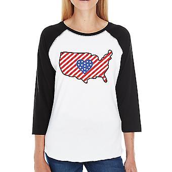 США карта бейсбол Мужская хлопок Tee милый подарок идея для армии жены