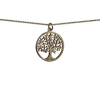 9kt guld 24mm runde 1,7 mm tyk Tree of Life vedhæng med et kabel kæde 16 inches kun egnet for børn