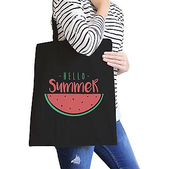 Hello Summer Watermelon Black Canvas Tote Bag Cute Summer Gift Idea