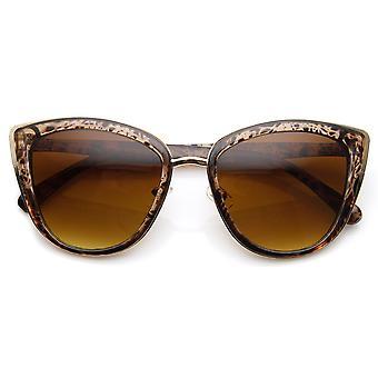Womens Oversized Metal Plastic Cat Eye Sunglasses