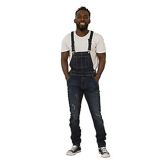 Mens Bib Down Dungarees – Dark Wash Denim Slim Fit Destroyed Denim Overalls Deta