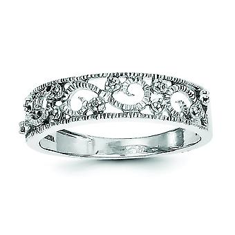 Sterling Silver Diamond Band Ring - Ring Size: 6 to 8