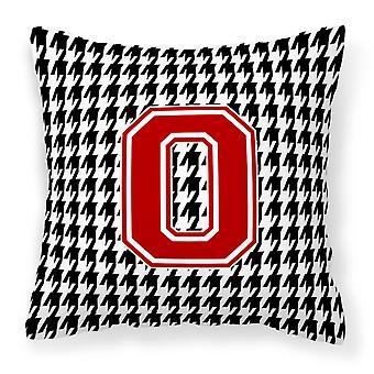 Monogram - Initial O Houndstooth Decorative   Canvas Fabric Pillow CJ1021