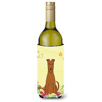 Easter Eggs Irish Terrier Wine Bottle Beverge Insulator Hugger