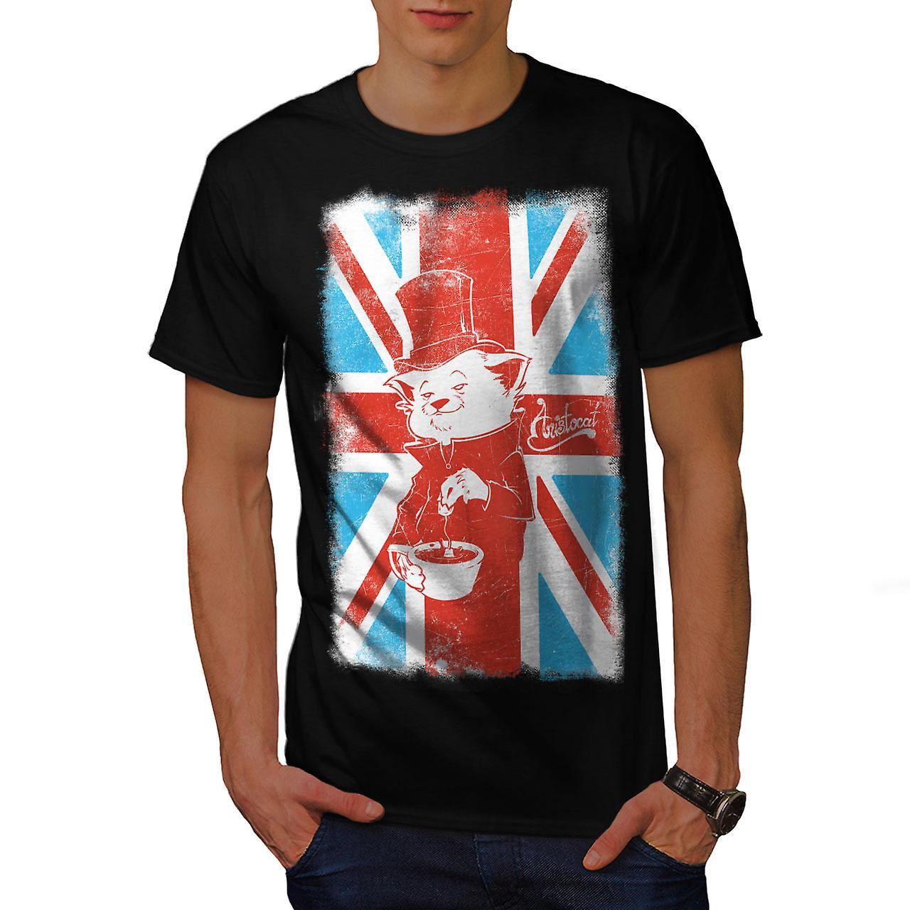 Great Britain Cat Flag UK Men Black T-shirt | Wellcoda