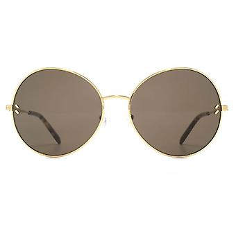 Stella McCartney Large Metal Round Sunglasses In Gold Brown