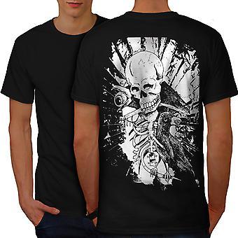 Roccia teschio uomini scheletro corvo BlackT-camicia indietro | Wellcoda