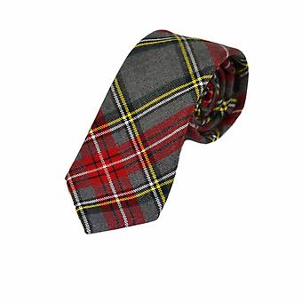 Traditional Light Grey & Red Tartan Tie, Check, Plaid