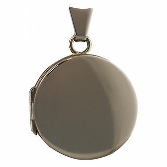 18-каратное белое золото 20 мм круглые плоские равнины медальон