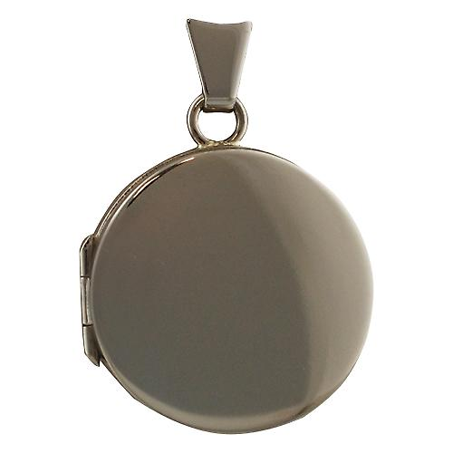 18ct White Gold 20mm plain handmade flat round Locket