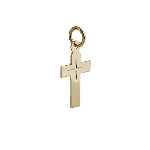 9ct Gold 15x11mm flat Latin Cross with diamond cut star