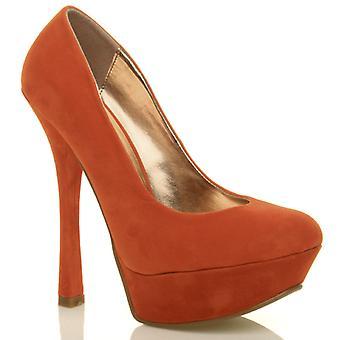 Ajvani womens high heel platform slip on pumps party court shoes