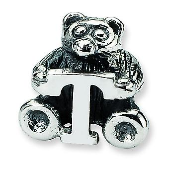 Sterling Silver Antique finish Reflections Kids Letter T Bead Charm