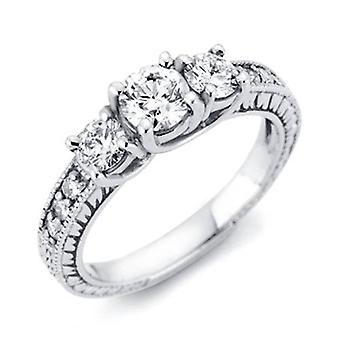 1 / 3ct Vintage tre sten rund diamant förlovningsring 14K vitguld