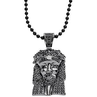 Iced Out Bling Micro Pave Kette - MINI JESUS schwarz