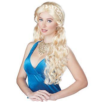 Medeltida skönhet prinsessa Renaissance blond flätad kvinnor dräkt peruk