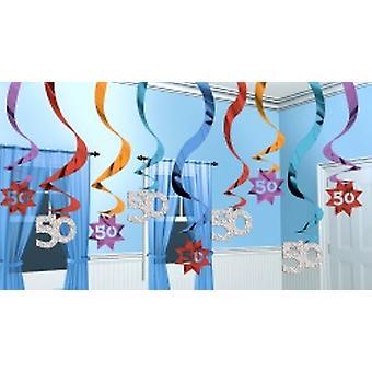 50 hængende Swirl dekoration parti fortsætter 15 strygere (mængde 1)