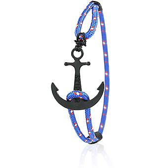 Skipper Anker Armband Nylon maritimes Armschmuck in Blau/Rot mit Schwarzem Anker 6940