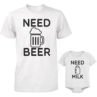 Need Beer and Need Milk Dad and Baby Matching Shirt and Bodysuit
