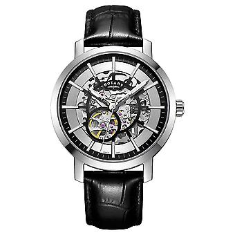 Rotary Mens Greenwich Black Leather Strap Skeleton GS05350/02 Watch
