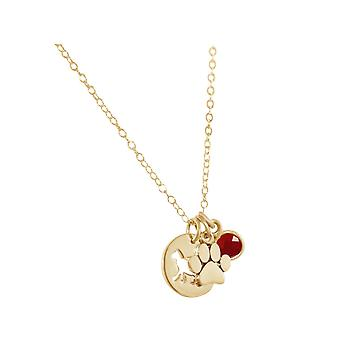 GEMSHINE cat paw pendant with Ruby gem. Solid 925 Silver, gold plated or 45cm necklace. Gift for pet owner, mistress - made in Spain