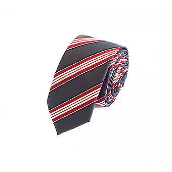 Schlips Krawatte Krawatten Binder 6cm grau rot weiß gestreift Fabio Farini