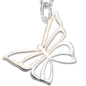 Chain pendant Butterfly 925 Silver rose gold plated bicolor