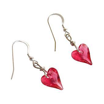Hart Stud Oorbellen roze SORAYA zilveren oorbellen hart zilver kristalelementen
