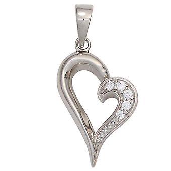 Herz silber Herzkette Anhänger Herz 925 Sterling Silber rhodiniert mit Zirkonia