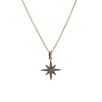 Latelita North Star Burst Diamond Pendant Necklace Rose Pink Gold Jewellery Gift